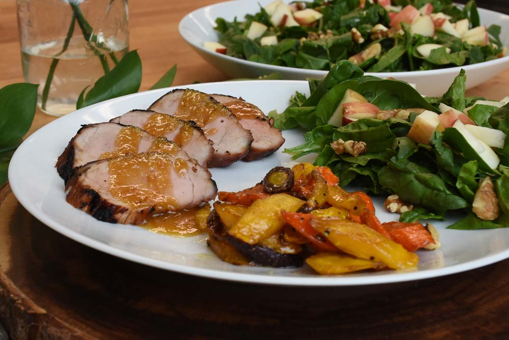 Grilled Pork Tenderloin and Spinach Salad